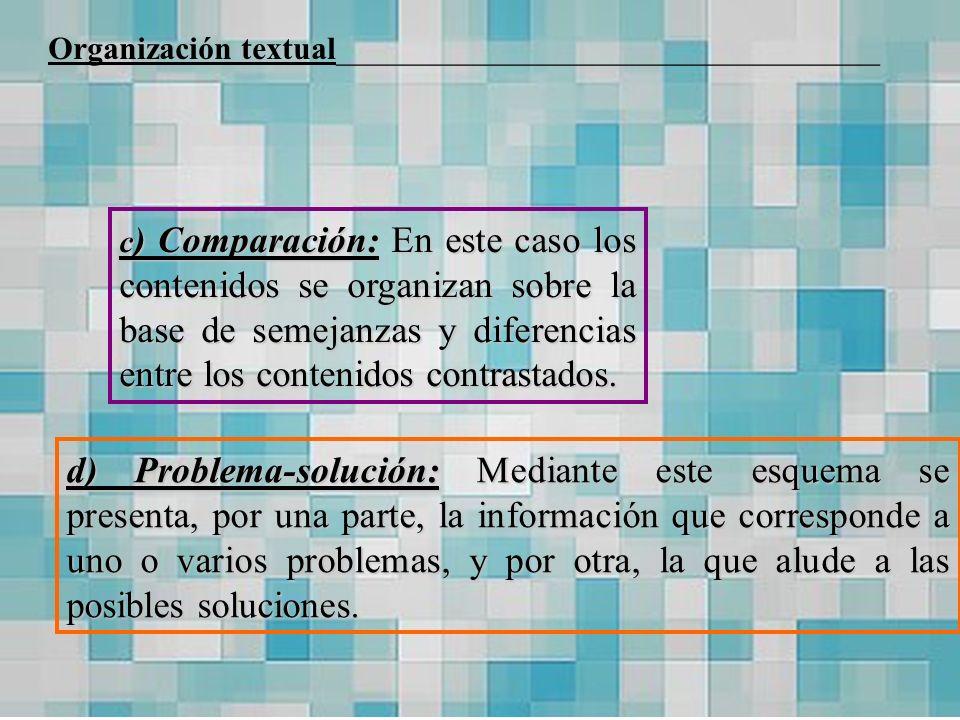 c ) Comparación: En este caso los contenidos se organizan sobre la base de semejanzas y diferencias entre los contenidos contrastados. d) Problema-sol