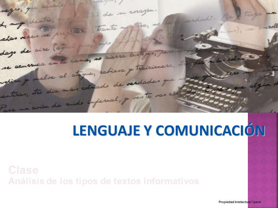 LENGUAJE Y COMUNICACIÓN Propiedad Intelectual Cpech Clase Análisis de los tipos de textos informativos
