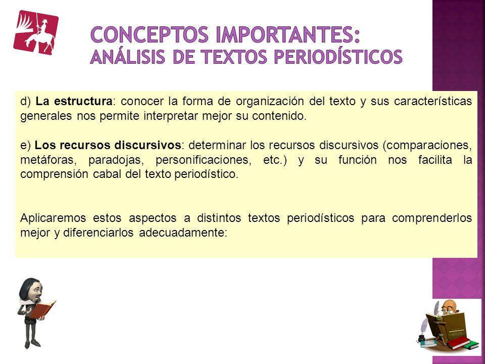 d) La estructura: conocer la forma de organización del texto y sus características generales nos permite interpretar mejor su contenido. e) Los recurs