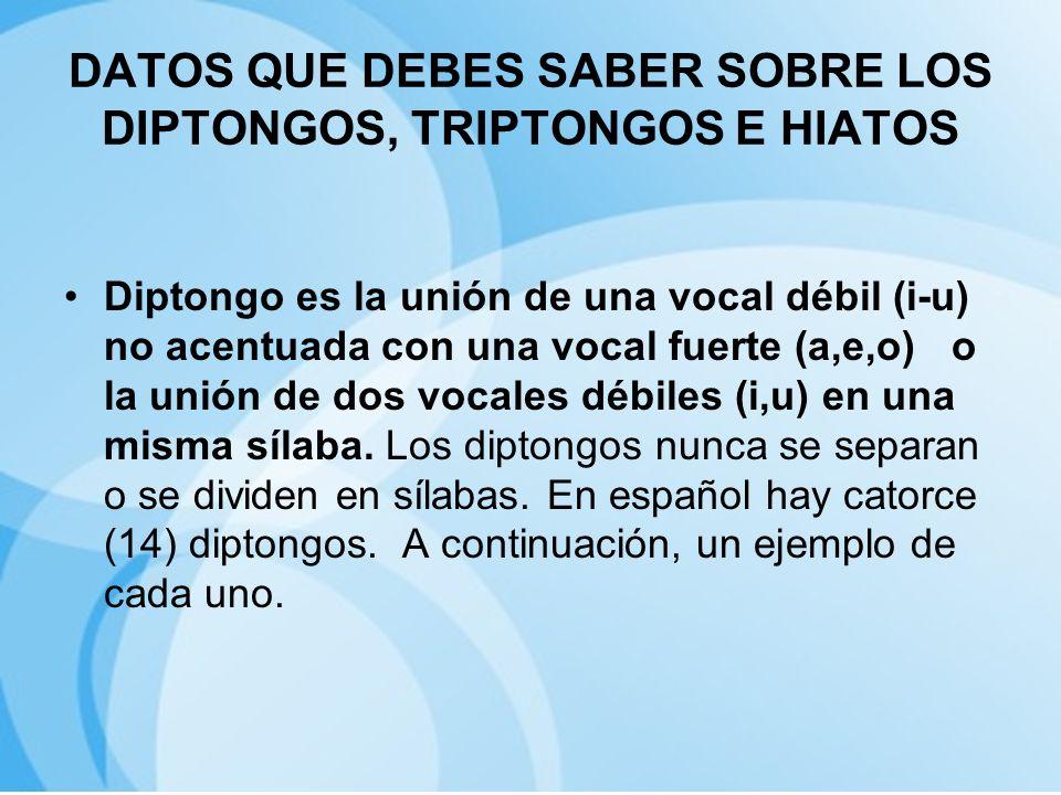 DATOS QUE DEBES SABER SOBRE LOS DIPTONGOS, TRIPTONGOS E HIATOS Diptongo es la unión de una vocal débil (i-u) no acentuada con una vocal fuerte (a,e,o)