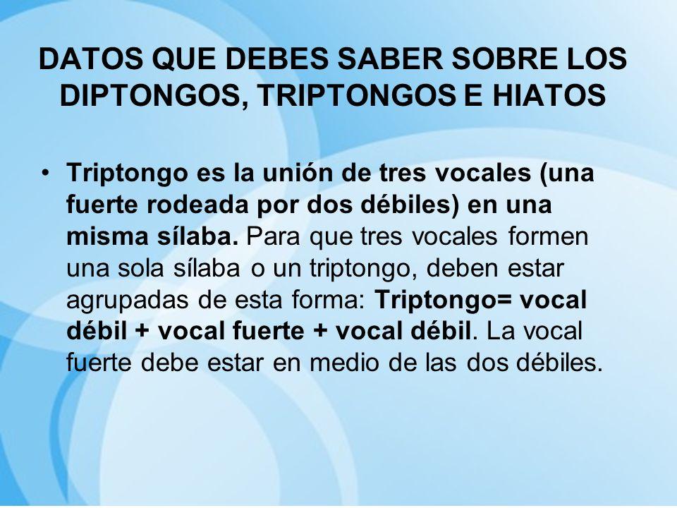 DATOS QUE DEBES SABER SOBRE LOS DIPTONGOS, TRIPTONGOS E HIATOS Triptongo es la unión de tres vocales (una fuerte rodeada por dos débiles) en una misma