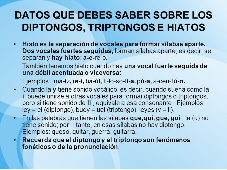 DATOS QUE DEBES SABER SOBRE LOS DIPTONGOS, TRIPTONGOS E HIATOS Hiato es la separación de vocales para formar sílabas aparte. Dos vocales fuertes segui