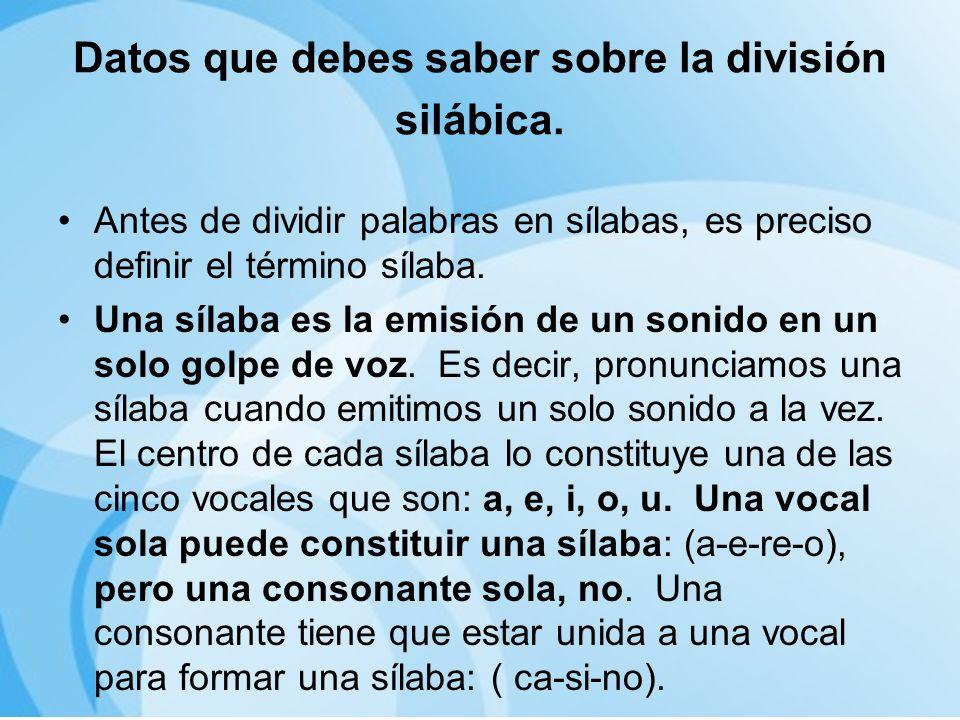 EJERCICIOS PARA PRÁCTICAR LA DIVISIÓN SILÁBICA 11.Alcoholismoal-coho-lis-moal-co-ho-lis-moal-co-hol-is-mo 12.pensamientopen-sa-mi-en-topen-sa-mien-topens-a-mien-to 13.cohibidoco-hi-bi-doco-hi-bid-ocohi-bi-do 14.exhalaciónex –ha-la-ci-ónex –ha-la-ciónexha-la-ción 15.reencuentrore-en-cuen-troreen-cuen-trore-en-cu-en-tro 16.mediodíame-di-o-dí-amed-io-dí-ame-dio-dí-a 17.Reumatismore-u-ma-tis-moreu-ma-tis-moreu-mat-is-mo 18.Deshumanizardes-hu-ma-ni-zardes-hum-a-ni-zardes-hum-an-i- zar 19.estudiaríaises-tu-di-a-rí-aises-tu-dia-ría-ises-tu-dia-rí-ais 20.categoríaca-te-go-ríaca-te-go-rí-acat-e-go-rí-