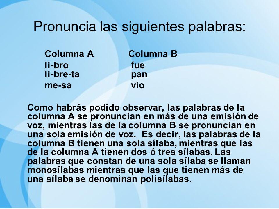 Pronuncia las siguientes palabras: Columna AColumna B li-bro fue li-bre-ta pan me-sa vio Como habrás podido observar, las palabras de la columna A se
