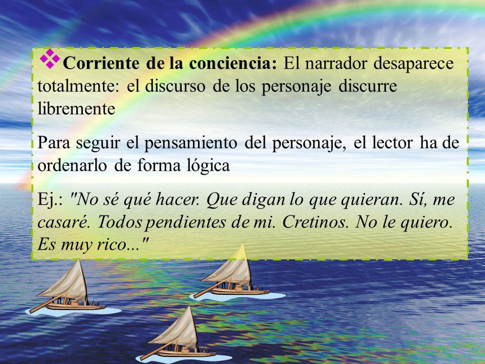 Corriente de la conciencia: El narrador desaparece totalmente: el discurso de los personaje discurre libremente Para seguir el pensamiento del persona