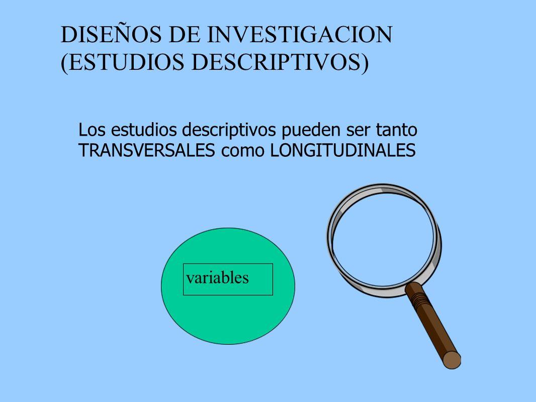 DISEÑOS DE INVESTIGACION (ESTUDIOS DESCRIPTIVOS) Los estudios descriptivos pueden ser tanto TRANSVERSALES como LONGITUDINALES variables