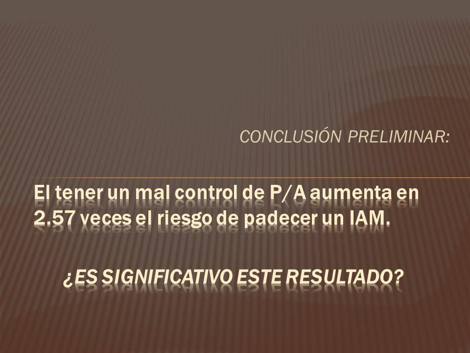 CONCLUSIÓN PRELIMINAR: