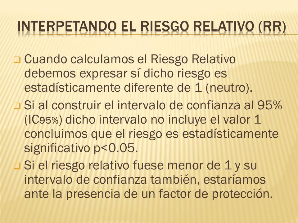 Cuando calculamos el Riesgo Relativo debemos expresar sí dicho riesgo es estadísticamente diferente de 1 (neutro).