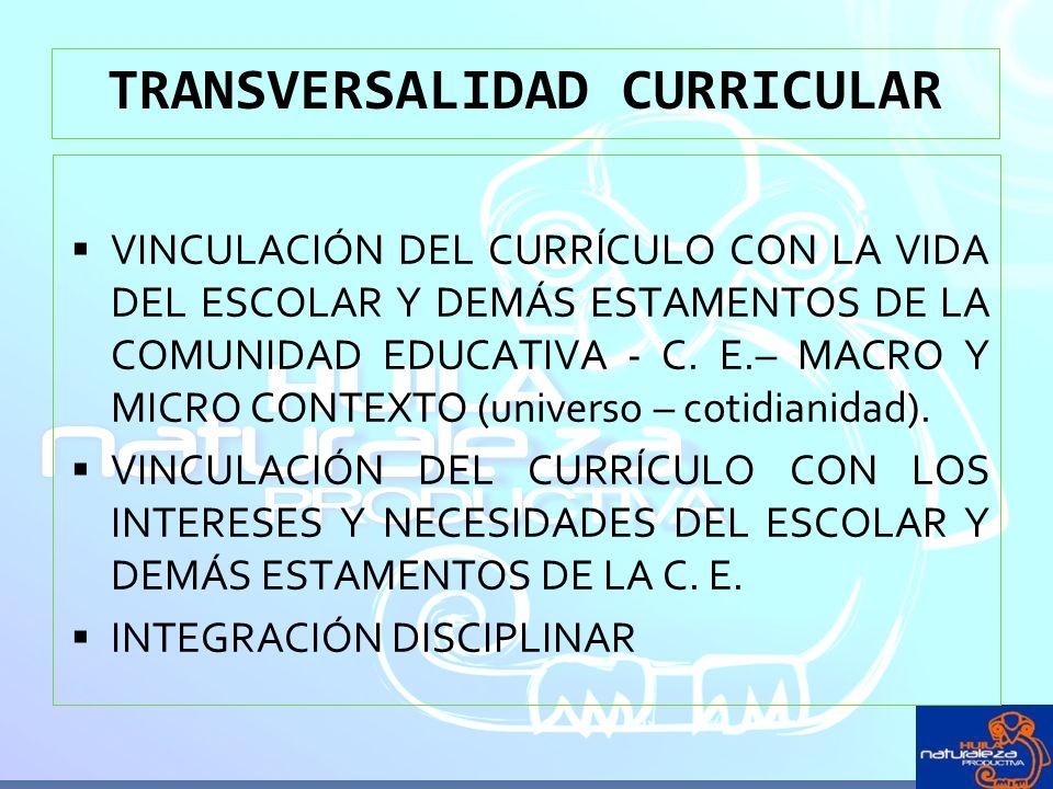 VINCULACIÓN DEL CURRÍCULO CON LA VIDA DEL ESCOLAR Y DEMÁS ESTAMENTOS DE LA COMUNIDAD EDUCATIVA - C.