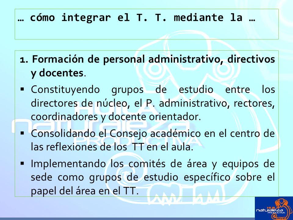 … cómo integrar el T. T. mediante la … 1. Formación de personal administrativo, directivos y docentes. Constituyendo grupos de estudio entre los direc