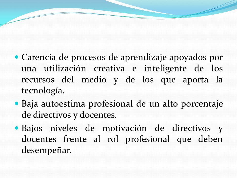 Carencia de procesos de aprendizaje apoyados por una utilización creativa e inteligente de los recursos del medio y de los que aporta la tecnología. B