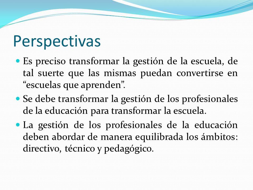 Perspectivas Es preciso transformar la gestión de la escuela, de tal suerte que las mismas puedan convertirse en escuelas que aprenden. Se debe transf