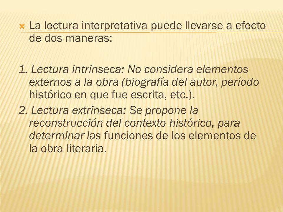 La lectura interpretativa puede llevarse a efecto de dos maneras: 1. Lectura intrínseca: No considera elementos externos a la obra (biografía del auto