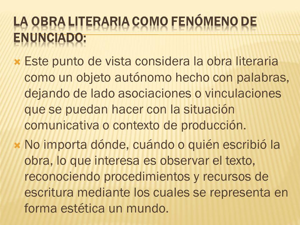 Este punto de vista considera la obra literaria como un objeto autónomo hecho con palabras, dejando de lado asociaciones o vinculaciones que se puedan