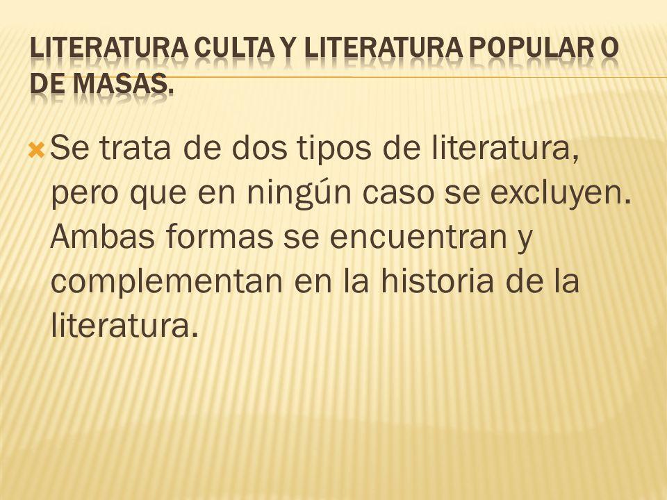 Se trata de dos tipos de literatura, pero que en ningún caso se excluyen. Ambas formas se encuentran y complementan en la historia de la literatura.