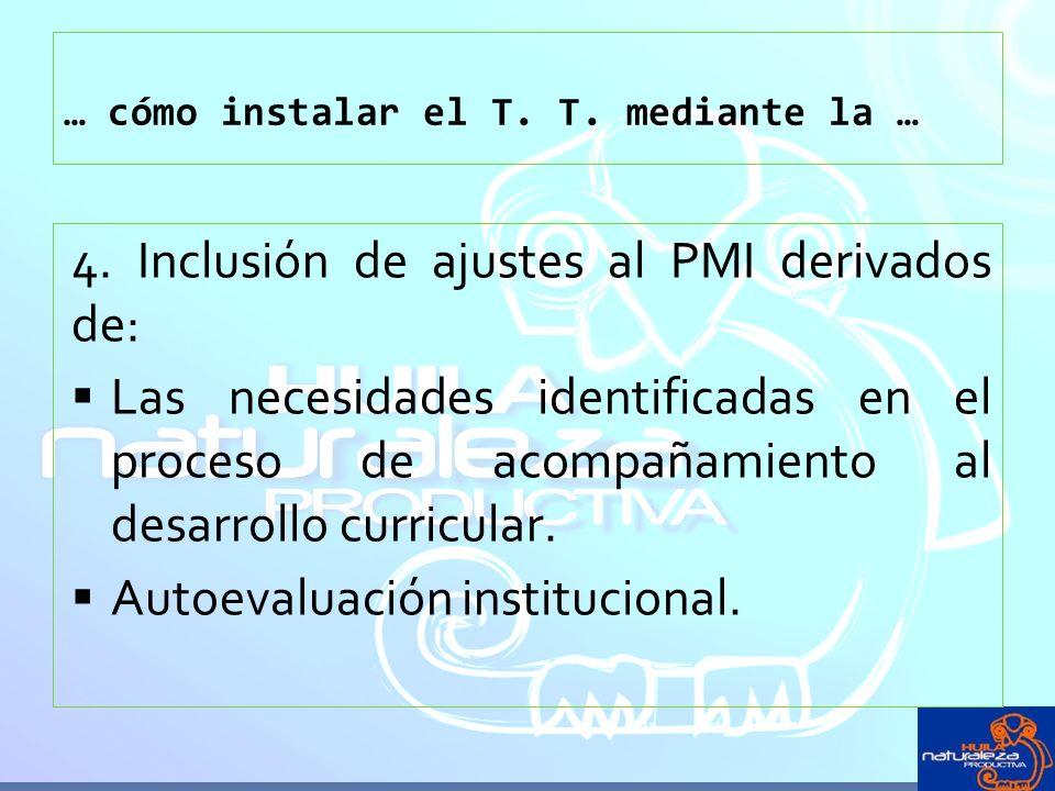 … cómo instalar el T. T. mediante la … 4. Inclusión de ajustes al PMI derivados de: Las necesidades identificadas en el proceso de acompañamiento al d