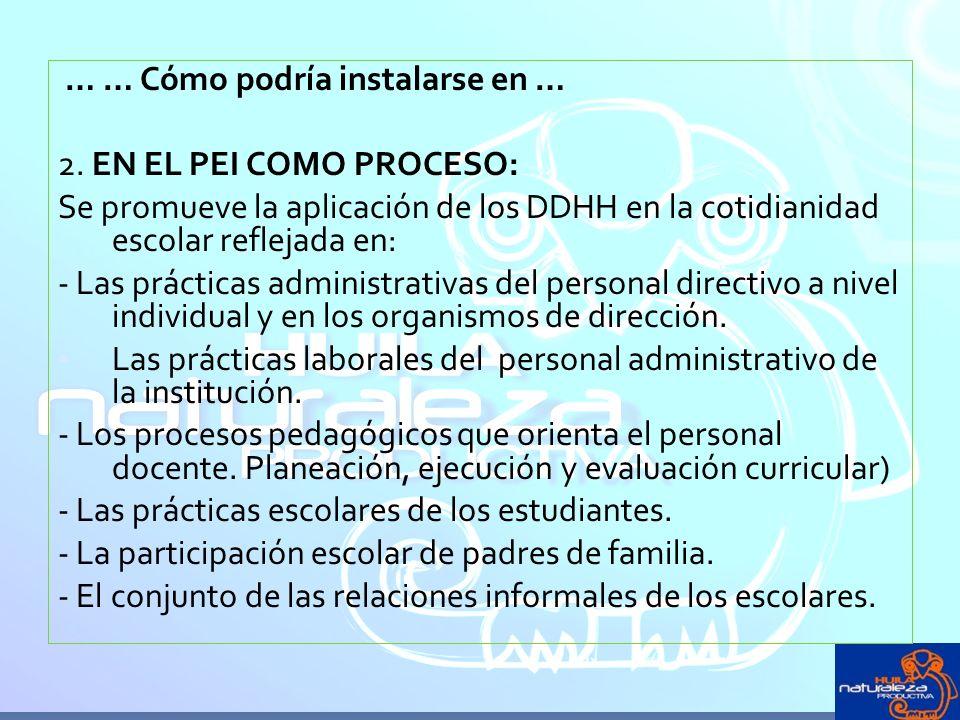 … … Cómo podría instalarse en … 2. EN EL PEI COMO PROCESO: Se promueve la aplicación de los DDHH en la cotidianidad escolar reflejada en: - Las prácti