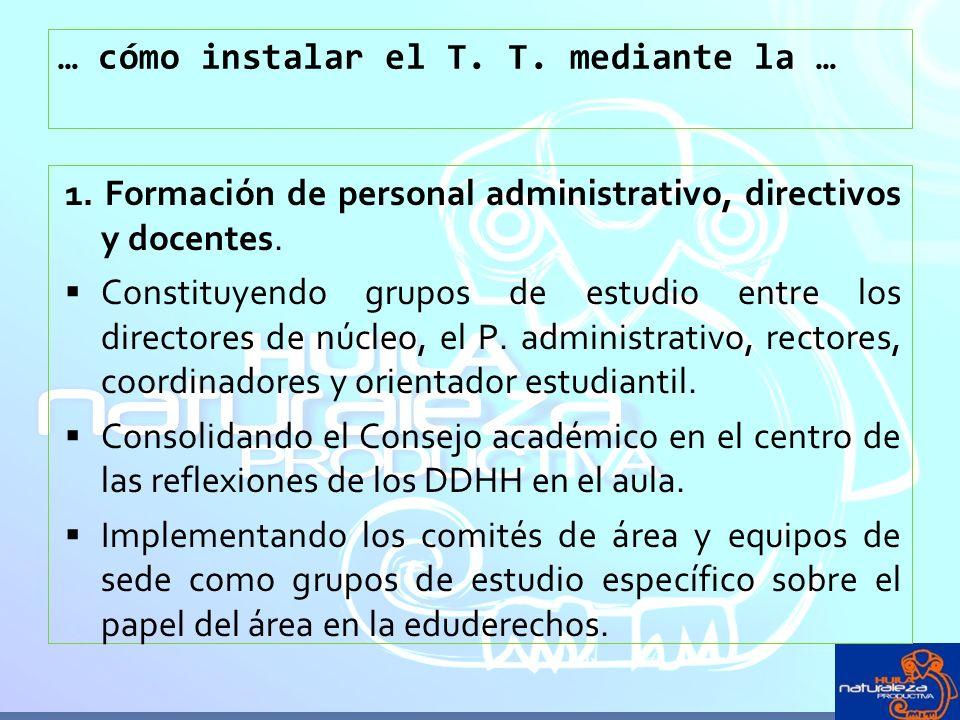 … cómo instalar el T. T. mediante la … 1. Formación de personal administrativo, directivos y docentes. Constituyendo grupos de estudio entre los direc