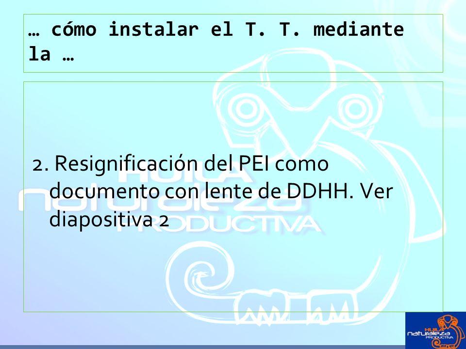 … cómo instalar el T. T. mediante la … 2. Resignificación del PEI como documento con lente de DDHH. Ver diapositiva 2