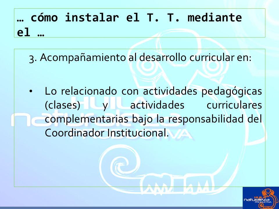 … cómo instalar el T. T. mediante el … 3. Acompañamiento al desarrollo curricular en: Lo relacionado con actividades pedagógicas (clases) y actividade
