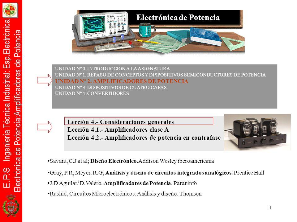 E.P.S Ingeniería Técnica Industrial: Esp.Electrónica Electrónica de Potencia:Amplificadores de Potencia 22 Relación de Potencias Para entregar 10W con un amplificador en contrafase clase B, la potencia máxima disipable P Dmáx = 4W: los transistores deberán disipar cada uno 2W aproximadamente.