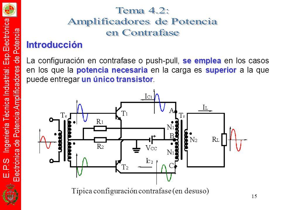 E.P.S Ingeniería Técnica Industrial: Esp.Electrónica Electrónica de Potencia:Amplificadores de Potencia 15 Introducción se emplea potencia necesariasu