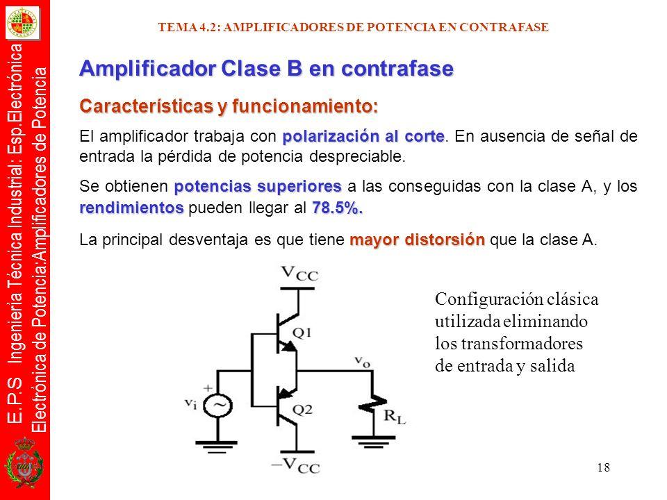 E.P.S Ingeniería Técnica Industrial: Esp.Electrónica Electrónica de Potencia:Amplificadores de Potencia 18 TEMA 4.2: AMPLIFICADORES DE POTENCIA EN CON