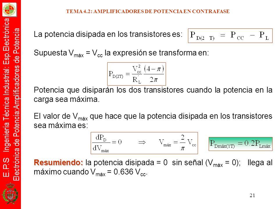 E.P.S Ingeniería Técnica Industrial: Esp.Electrónica Electrónica de Potencia:Amplificadores de Potencia 21 La potencia disipada en los transistores es