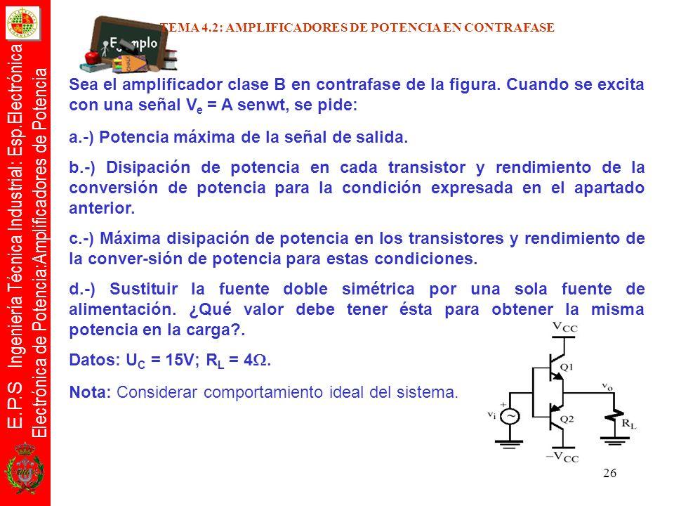 E.P.S Ingeniería Técnica Industrial: Esp.Electrónica Electrónica de Potencia:Amplificadores de Potencia 26 Sea el amplificador clase B en contrafase d