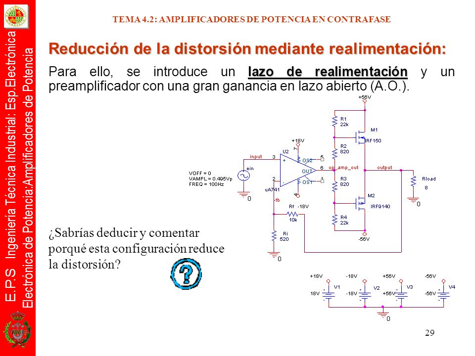 E.P.S Ingeniería Técnica Industrial: Esp.Electrónica Electrónica de Potencia:Amplificadores de Potencia 29 Reducción de la distorsión mediante realime