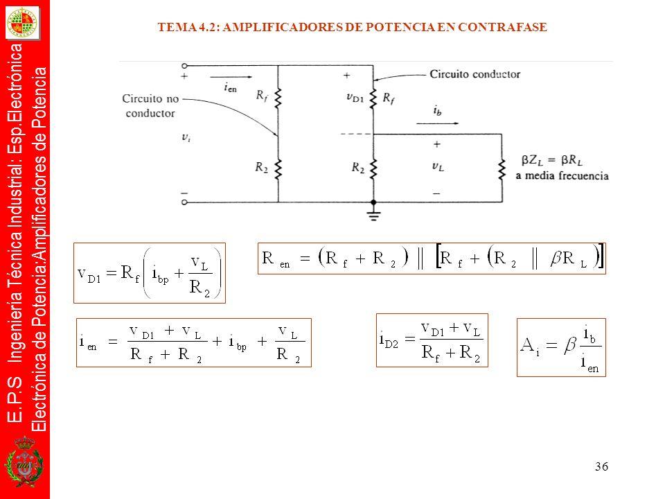 E.P.S Ingeniería Técnica Industrial: Esp.Electrónica Electrónica de Potencia:Amplificadores de Potencia 36 TEMA 4.2: AMPLIFICADORES DE POTENCIA EN CON