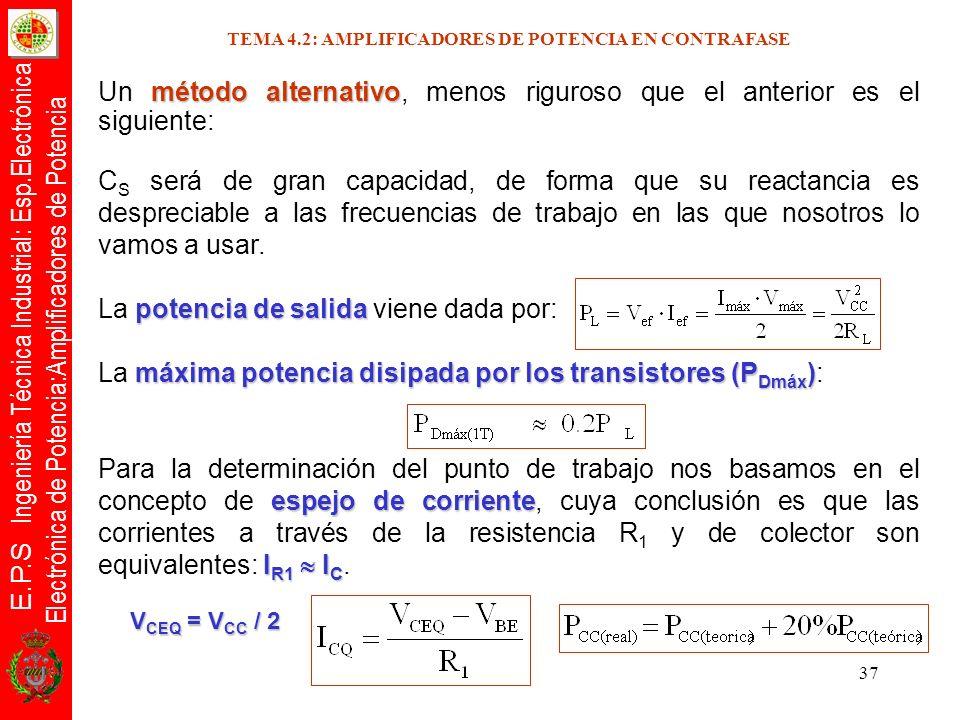 E.P.S Ingeniería Técnica Industrial: Esp.Electrónica Electrónica de Potencia:Amplificadores de Potencia 37 método alternativo Un método alternativo, m