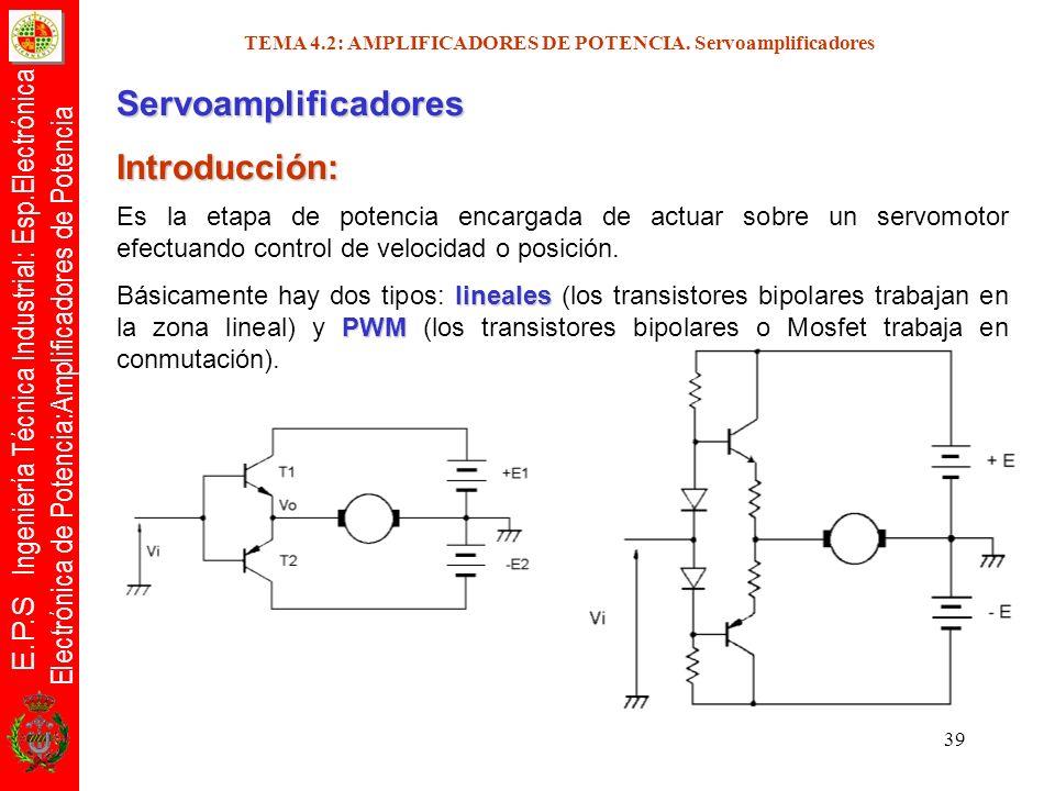 E.P.S Ingeniería Técnica Industrial: Esp.Electrónica Electrónica de Potencia:Amplificadores de Potencia 39 TEMA 4.2: AMPLIFICADORES DE POTENCIA. Servo