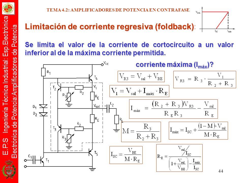 E.P.S Ingeniería Técnica Industrial: Esp.Electrónica Electrónica de Potencia:Amplificadores de Potencia 44 Limitación de corriente regresiva (foldback