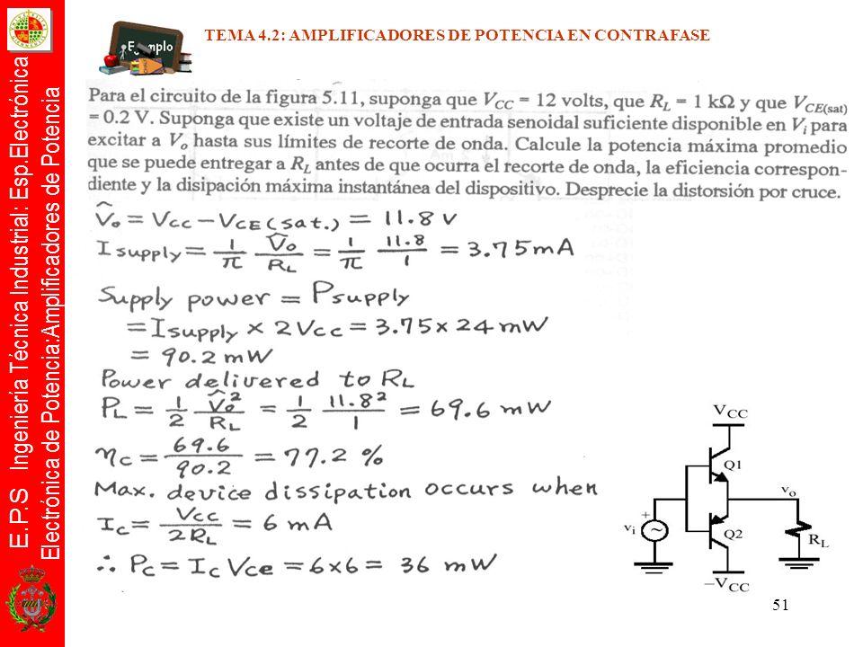 E.P.S Ingeniería Técnica Industrial: Esp.Electrónica Electrónica de Potencia:Amplificadores de Potencia 51 TEMA 4.2: AMPLIFICADORES DE POTENCIA EN CON