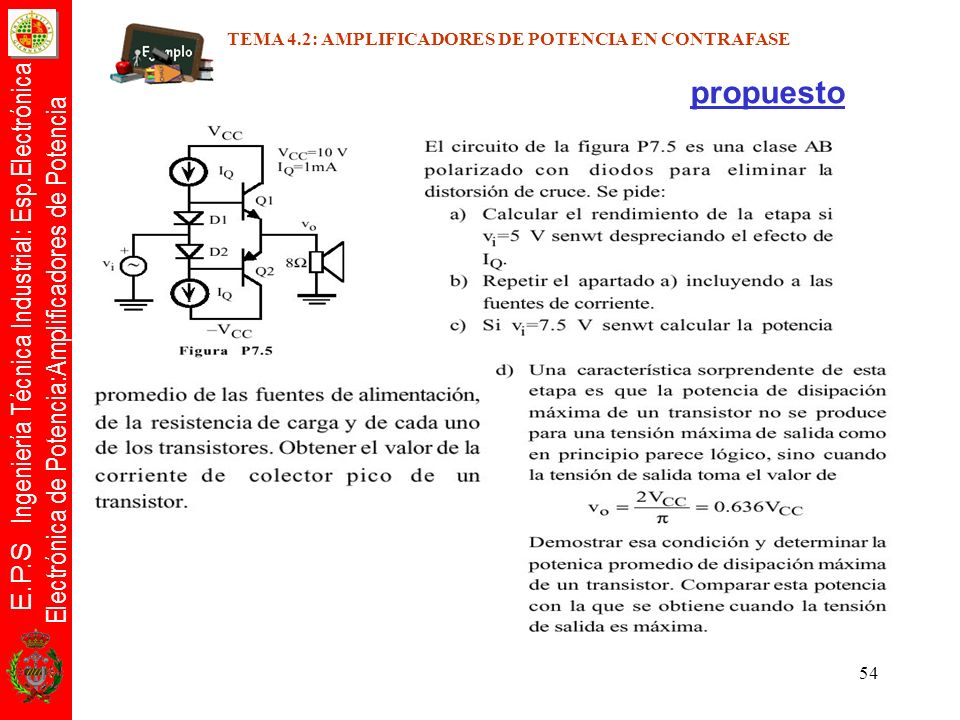 E.P.S Ingeniería Técnica Industrial: Esp.Electrónica Electrónica de Potencia:Amplificadores de Potencia 54 propuesto TEMA 4.2: AMPLIFICADORES DE POTEN