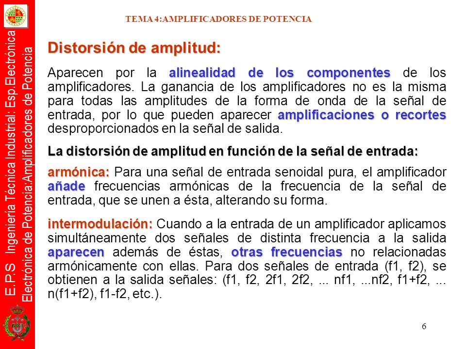 E.P.S Ingeniería Técnica Industrial: Esp.Electrónica Electrónica de Potencia:Amplificadores de Potencia 6 TEMA 4:AMPLIFICADORES DE POTENCIA Distorsión