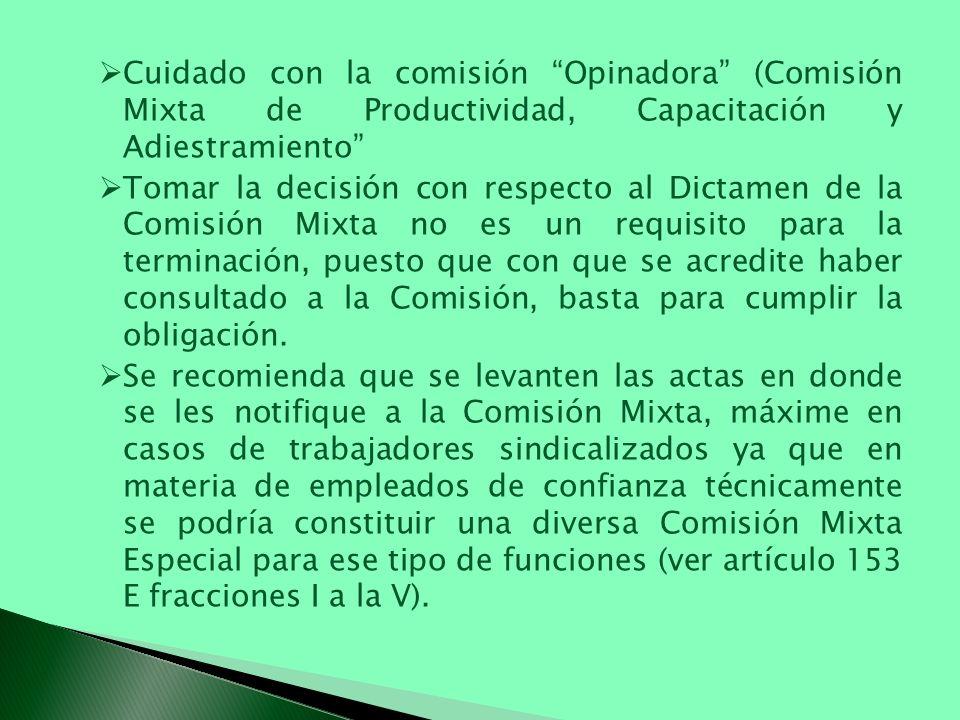 Cuidado con la comisión Opinadora (Comisión Mixta de Productividad, Capacitación y Adiestramiento Tomar la decisión con respecto al Dictamen de la Com