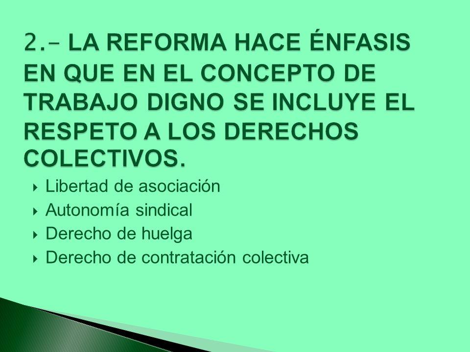 Libertad de asociación Autonomía sindical Derecho de huelga Derecho de contratación colectiva