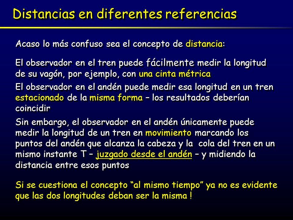Distancias en diferentes referencias Acaso lo más confuso sea el concepto de distancia: El observador en el tren puede fácilmente medir la longitud de