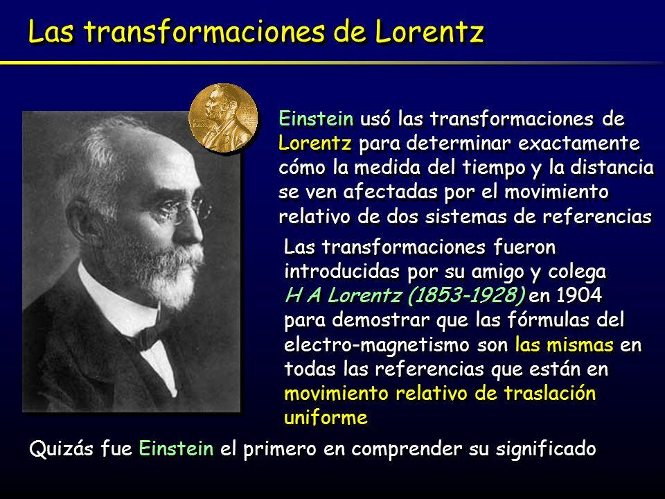 Las transformaciones de Lorentz Einstein usó las transformaciones de Lorentz para determinar exactamente cómo la medida del tiempo y la distancia se v