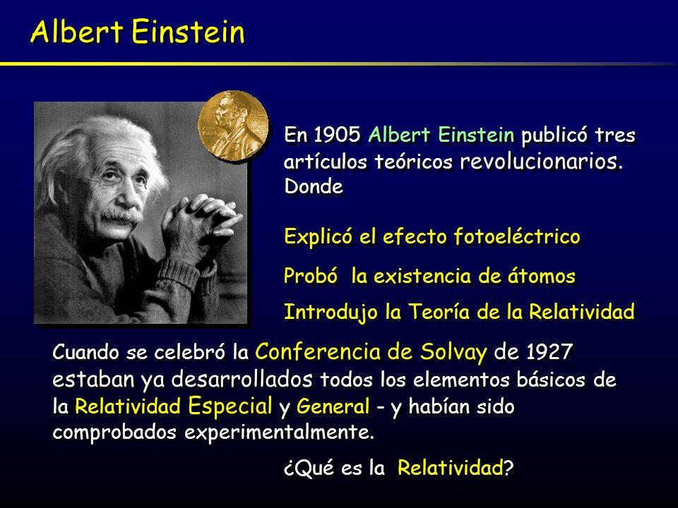 Albert Einstein En 1905 Albert Einstein publicó tres artículos teóricos revolucionarios. Donde Probó la existencia de átomos Explicó el efecto fotoelé