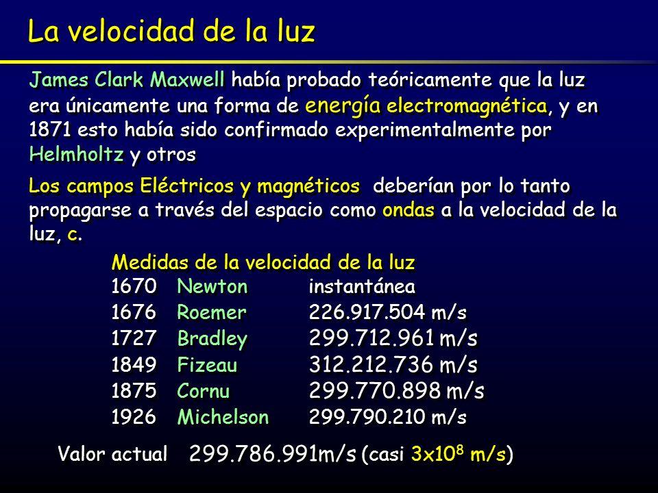 La velocidad de la luz James Clark Maxwell había probado teóricamente que la luz era únicamente una forma de energía electromagnética, y en 1871 esto