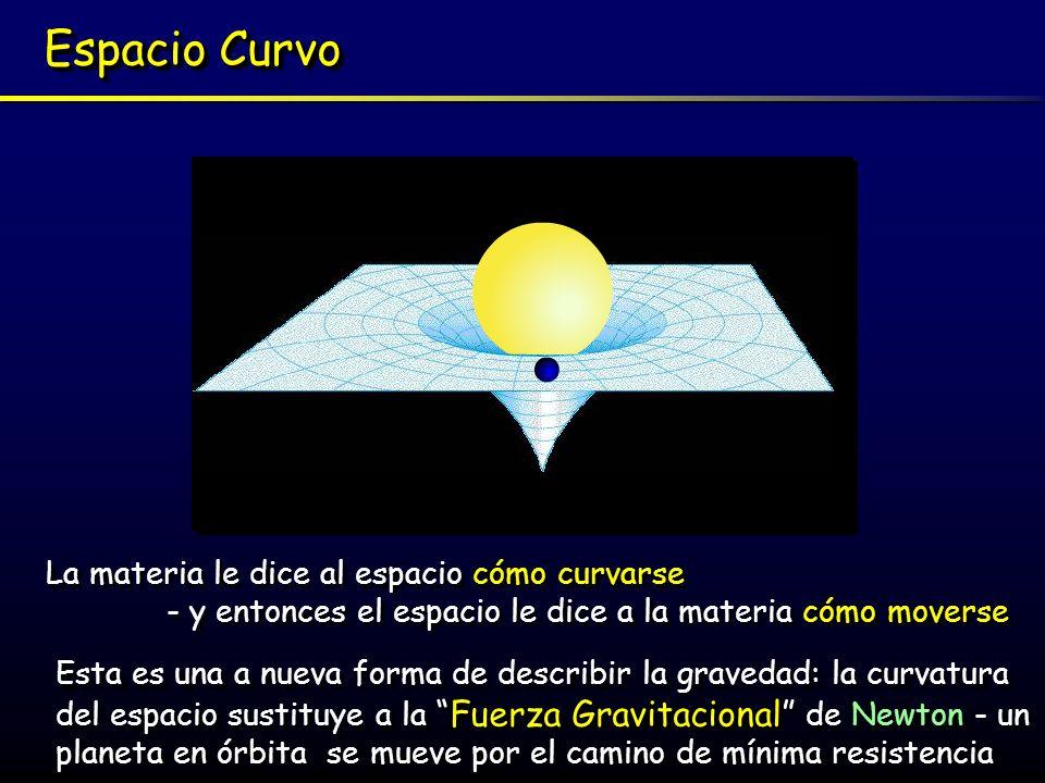 Espacio Curvo La materia le dice al espacio cómo curvarse - y entonces el espacio le dice a la materia cómo moverse La materia le dice al espacio cómo