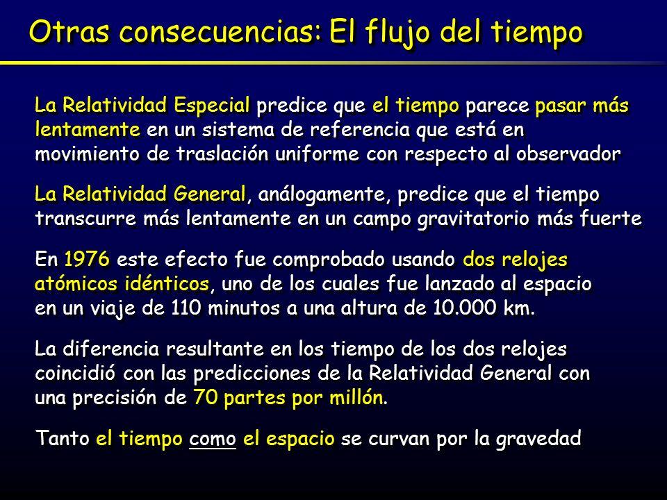 Otras consecuencias: El flujo del tiempo La Relatividad Especial predice que el tiempo parece pasar más lentamente en un sistema de referencia que est