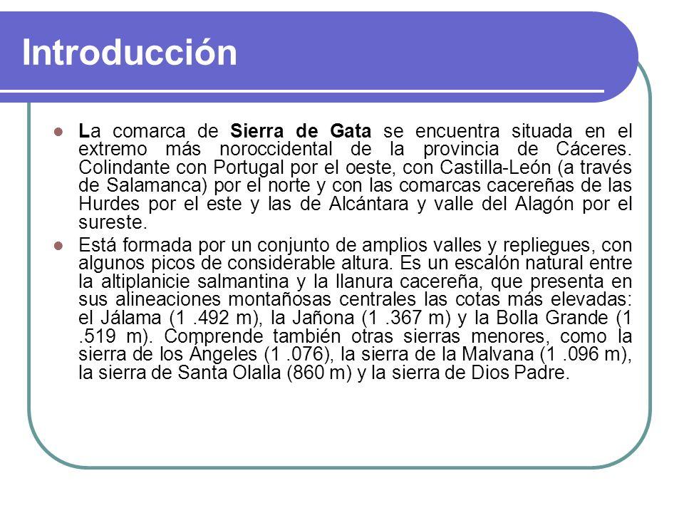 Introducción La comarca de Sierra de Gata se encuentra situada en el extremo más noroccidental de la provincia de Cáceres. Colindante con Portugal por