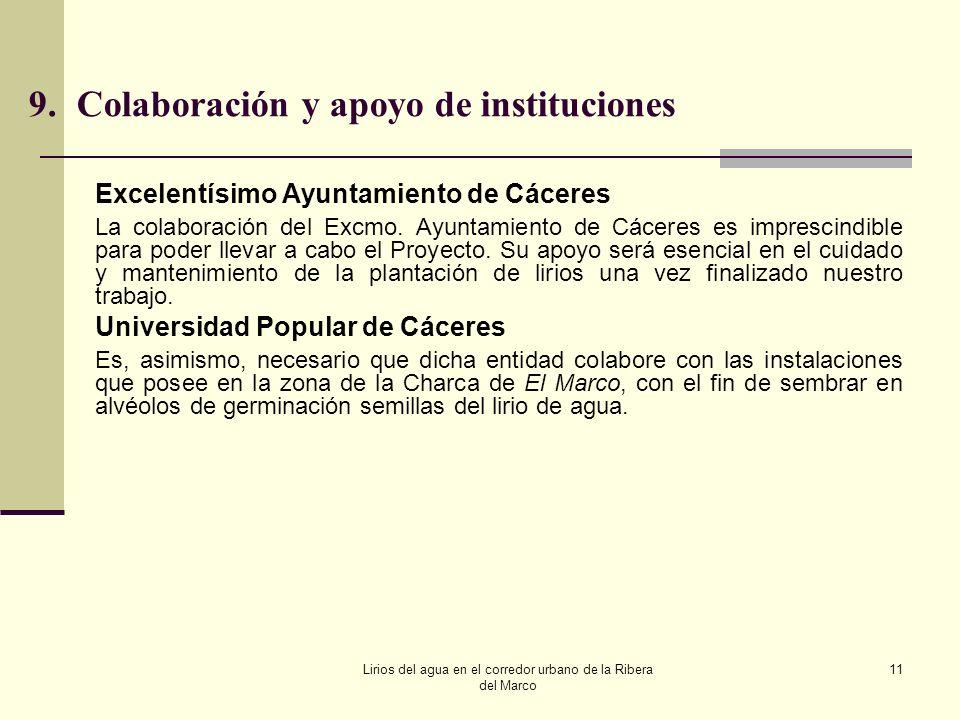 Lirios del agua en el corredor urbano de la Ribera del Marco 11 9.Colaboración y apoyo de instituciones Excelentísimo Ayuntamiento de Cáceres La colab
