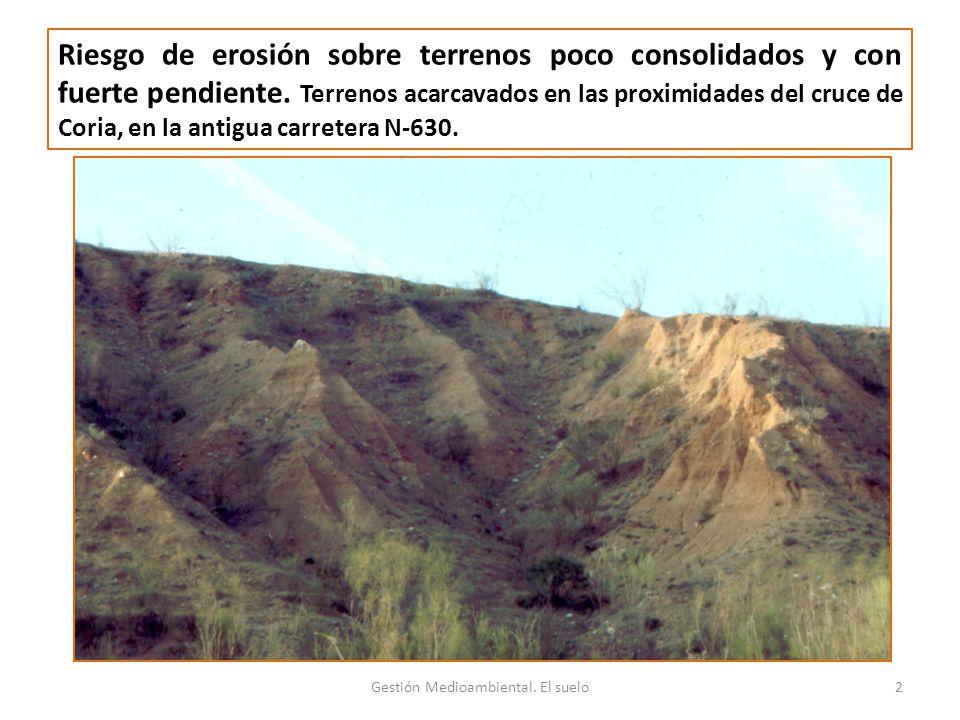 Riesgo de erosión sobre terrenos poco consolidados y con fuerte pendiente.