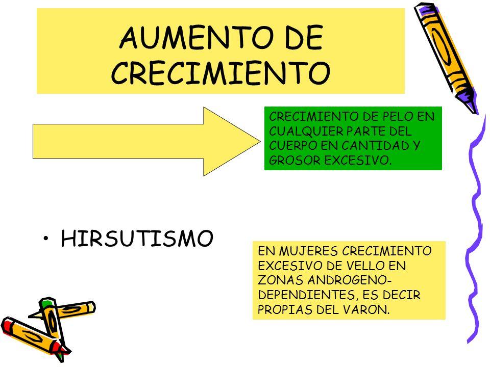 AUMENTO DE CRECIMIENTO HIPERTRICOSIS HIRSUTISMO CRECIMIENTO DE PELO EN CUALQUIER PARTE DEL CUERPO EN CANTIDAD Y GROSOR EXCESIVO. EN MUJERES CRECIMIENT