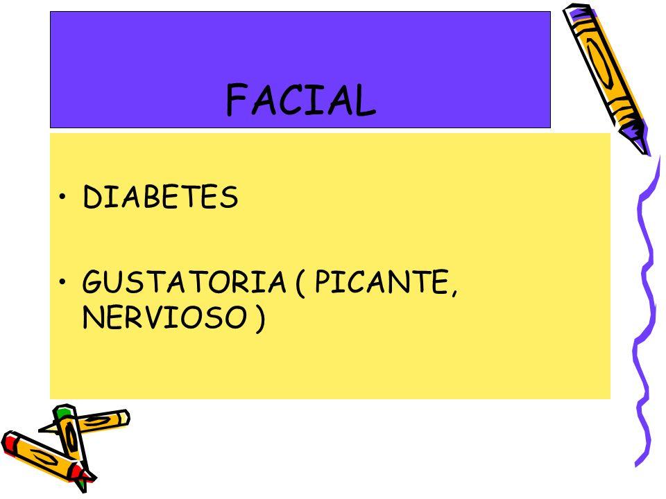 FACIAL DIABETES GUSTATORIA ( PICANTE, NERVIOSO )
